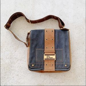 Vintage Dior denim and leather handbag